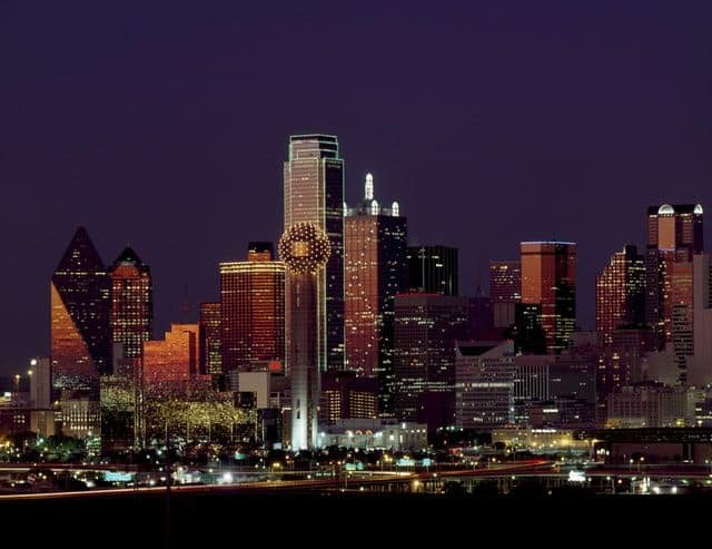 Dallas texas skyline dusk